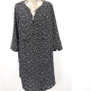 Lane Bryant Tunic Dress Sz 20 Black White Dotted